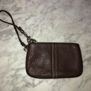 COACH chocolate brown wristlet